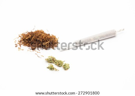 joint with marijuana and tobacco isolated on white background - stock photo