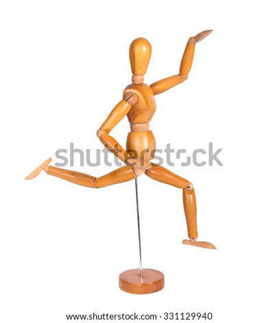 Jointed wooden man figure for artists, over white background