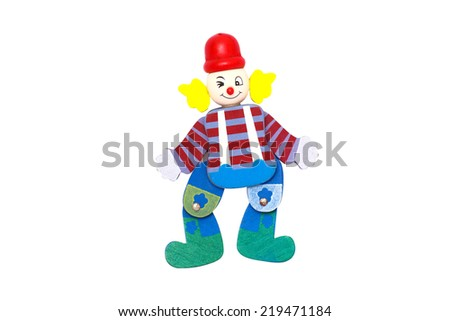 Joker wood puppet - stock photo