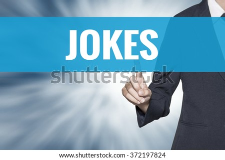 Jokes word on virtual screen touch by business woman cyan sky tab - stock photo