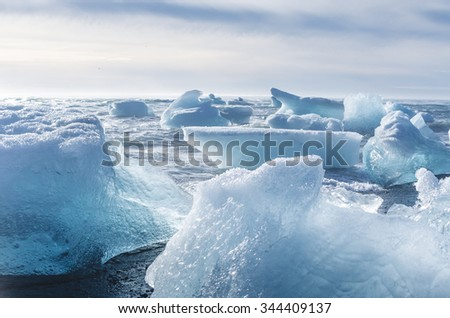 jokulsarlon beach with icebergs, iceland