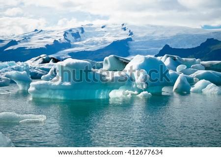 Jokulsarlon Glacial Lagoon near Vatnajokull in Iceland - stock photo