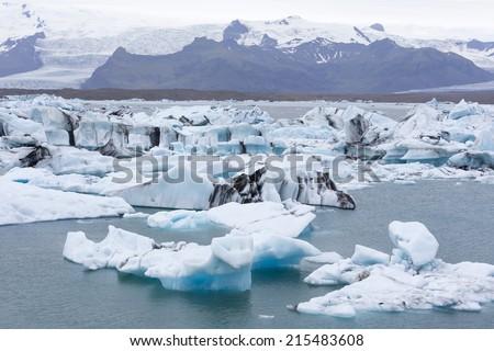 Jokulsarlon, Glacial lake with icebergs  - stock photo