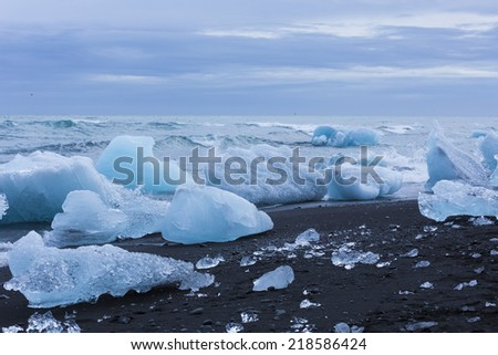 Jokulsarlon, Glacial lake with icebergs in Iceland  - stock photo