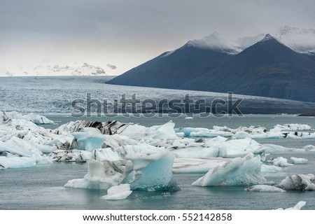 Jokulsarlon Glacier Lagoon in Iceland and Mountain in Background