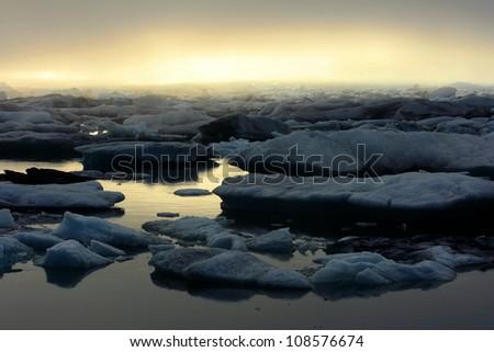 Jokulsarlon glacier lake in Iceland - stock photo