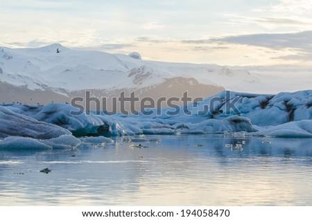 Jokulsarlon Ice Lagoon at sunrise - stock photo