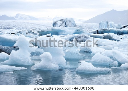 Jokulsarlon is a large glacial lake in southeast Iceland - stock photo