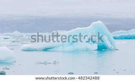 Jokulsarlon is a large glacial lake in southeast Iceland - Ice breaking of a glacier