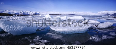 Jokulsarlon Panorama, Iceland - stock photo