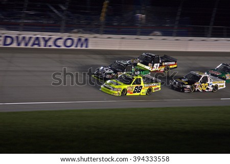 Joliet, IL USA - August 28, 2009: Chicagoland Speedway 225, NASCAR Camping World Truck Series. 88 Matt Crafton, Menards - Ideal Door, Chevrolet