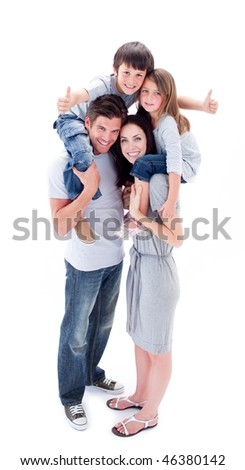 Jolly parents giving their children piggyback ride against a white background