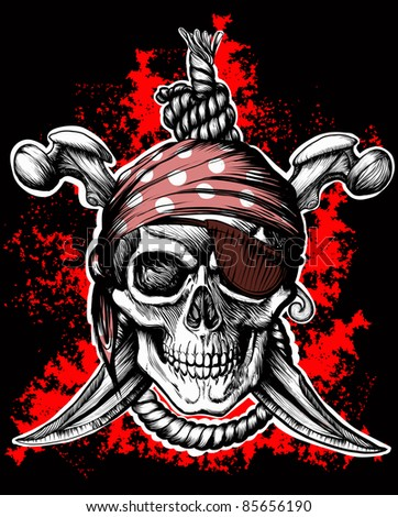 Jolly Roger, a pirate symbol with crossed daggers and a rope on the black and red background. Raster version
