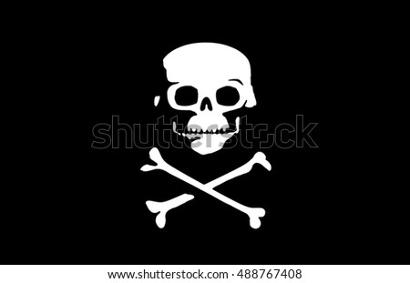 Jolly roger flag as pirates symbol skull and two bones underneath