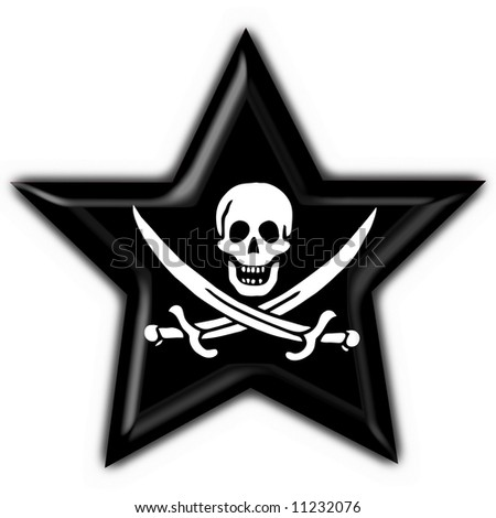 Jolly Roger skull and crossed swords symbol button star flag