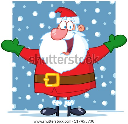 Jolly Santa Claus With Open Arms In The Snow. Raster Illustration.Vector version also available in portfolio. - stock photo