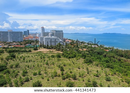 Jomtien Beach and hotels is located near south Pattaya, Thailand