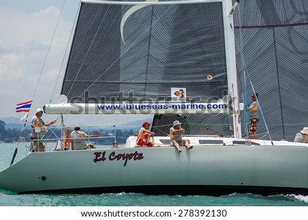JOMTIEN, THAILAND - MAY 02 : El Coyote sailors on duty in Top of the Gulf Regatta event at Jomtien beach Pataya May 02, 2015