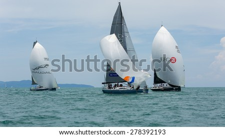 JOMTIEN, THAILAND - MAY 02 : Foxy Lady sailors on duty in Top of the Gulf Regatta event at Jomtien beach Pataya May 02, 2015