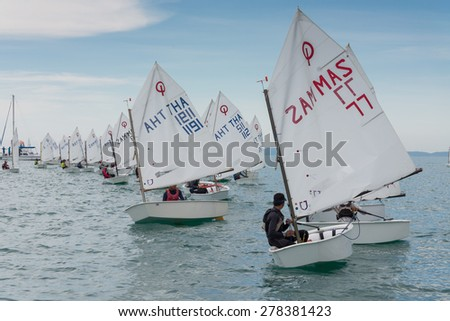 JOMTIEN, THAILAND - MAY 01 : Racers line up ready to start in Top of the Gulf Regatta event at Jomtien beach Pataya May 01, 2015