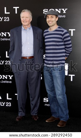 """Jon Voight and James Haven at the Los Angeles premiere of 'Salt"""" held at the Grauman's Chinese Theatre in Hollywood on July 19, 2010.  - stock photo"""