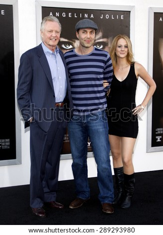 """Jon Voight, James Haven and Ashley Reign at the Los Angeles premiere of 'Salt"""" held at the Grauman's Chinese Theatre in Hollywood on July 19, 2010.  - stock photo"""