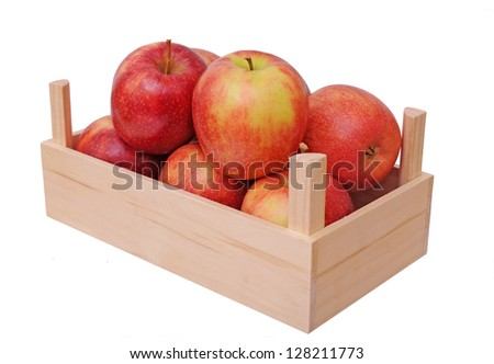 Jonagold apples in crate isolated on white