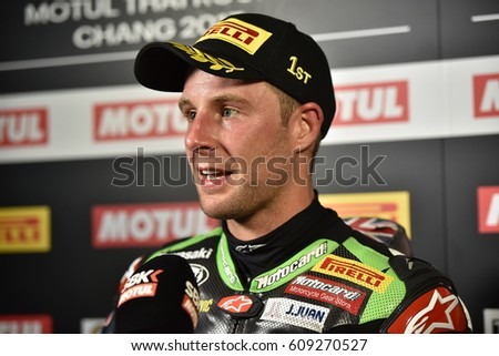 JONATHAN REA of KAWASAKI RACING TEAM interview after WorldSBK The 2017 MOTUL FIM World Superbike Championship at Chang International Circuit on March12,2017 in Thailand.
