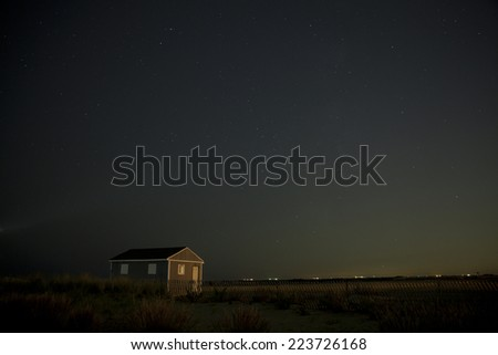 Jones Beach West End 2 with night stars - stock photo