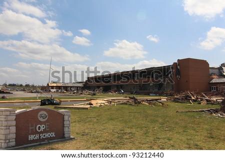 JOPLIN, MO - June 25: The ruins of Joplin, Missouri High School still stand testament to the power of an EF5 tornado that cut a path of destruction 7 miles long. June 25, 2011,  Joplin, Mo. - stock photo
