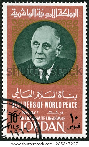 JORDAN - CIRCA 1967: A stamp printed in Jordan shows Portrait of Charles Andre Joseph Marie de Gaulle (1890-1970), series Builders of World Peace, circa 1967