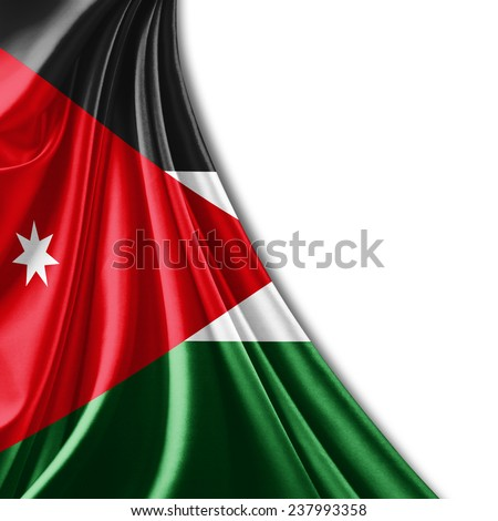 Jordan flag and white background - stock photo