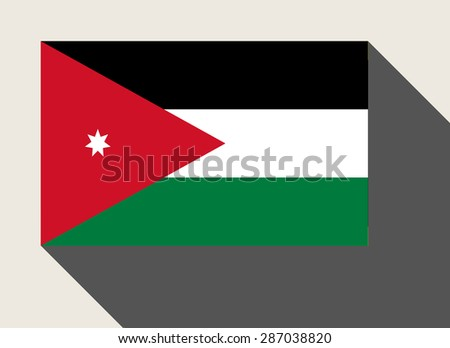 Jordan flag in flat web design style. - stock photo
