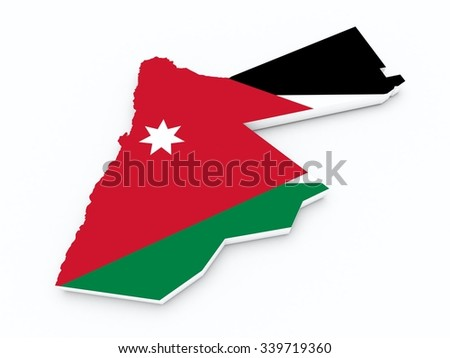 Jordan flag on 3d map