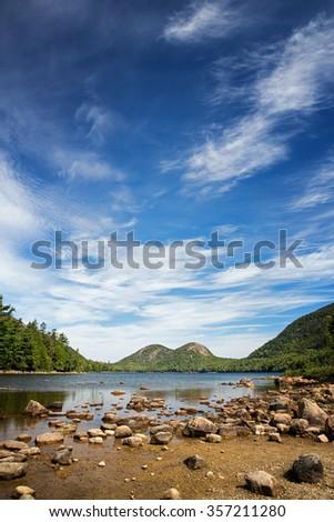 Jordan Pond, Acadia National Park, Mount Desert Island, maine, USA - stock photo