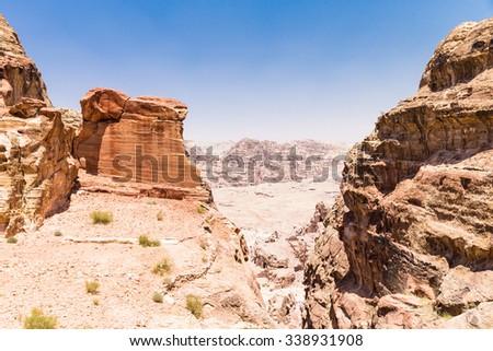 Jordanian desert at Petra - stock photo