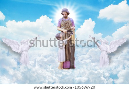 Joseph and Jesus on heaven - stock photo