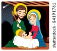 Joseph and Mary joyful with baby Jesus laughing and three wise kings on the horizon following the Star of Bethlehem - stock photo