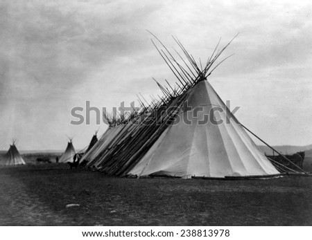 Joseph Dead Feast Lodge- Nez Perc_. Edward S. Curtis photo, ca. 1905 - stock photo