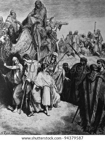 Joseph sold into Egypt. 1) Le Sainte Bible: Traduction nouvelle selon la Vulgate par Mm. J.-J. Bourasse et P. Janvier. Tours: Alfred Mame et Fils. 2) 1866 3) France 4) Gustave Doré - stock photo