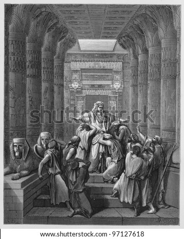 Joseph was called to his brothers - Picture from The Holy Scriptures, Old and New Testaments books collection published in 1885, Stuttgart-Germany. Drawings by Gustave Dore. - stock photo