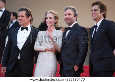 Josh Brolin, Emily Blunt, director Denis Villeneuve and actor Benicio Del Toro attends the 'Sicario' premiere during the 68th annual Cannes Film Festival on May 19, 2015 in Cannes, France. - stock photo
