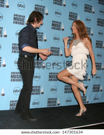 Josh Groban & Celine Dion at the American Music Awards 2007 Nokia Theater Los Angeles, CA November 18, 2007 - stock photo