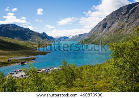 JOTUNHEIMEN, NORWAY-JULY 6: Camp July 6, 2016 in Jotunheimen, Norway. Camp in the norway mountains. - stock photo