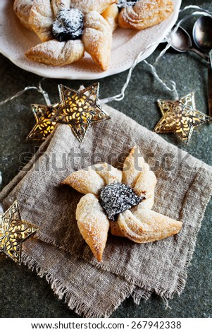 Joulutorttu, traditional finnish christmas pastry - stock photo
