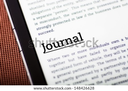 Journal on tablet pc screen, ebook concept