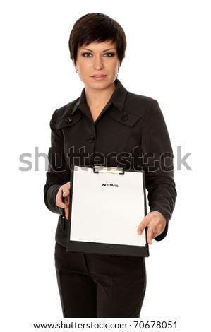 Journalist preparing hot news for TV spots - stock photo