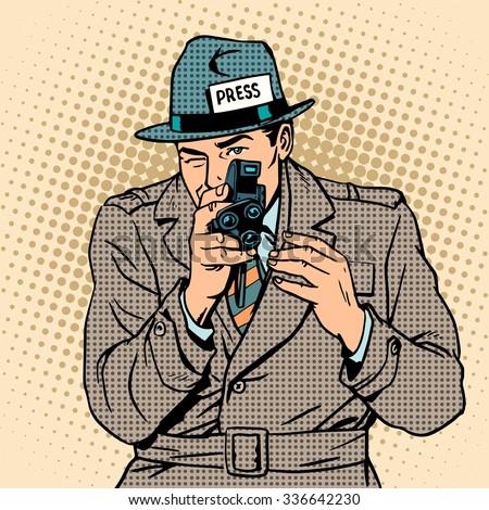 Journalist takes on retro camera. Paparazzi snooping tabloid press pop art - stock photo