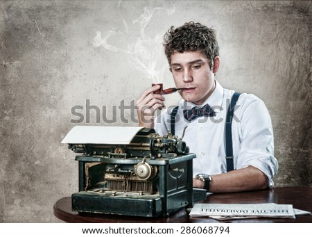 journalist with a vintage typewriter,bow tie, and pipe