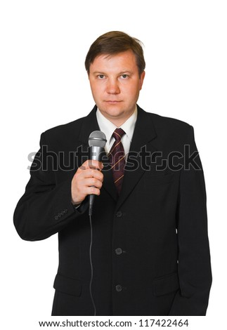 Journalist with microphone isolated on white background - stock photo